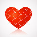 Medical background - red heart with ekg symbols across Stock Photos