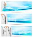 Medical banners with a doctors lab white coat and  Stock Image