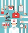 Medical blood analysis flat design with doctor in the mask