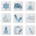 Medical blue icons Royalty Free Stock Images