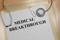 Medical breakthrough concept render illustration of title on documents Stock Image