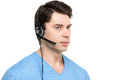 Medical call center operator man isolated. Royalty Free Stock Photo