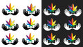Medical cannabis marijuana leaf icon with peaceful dove symbol