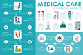 Medical care concept Hospital infographic flat web vector illustration. Patient, nurse, clinical laboratory, doctor