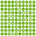 100 medical care icons hexagon green Royalty Free Stock Photo