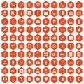 100 medical care icons hexagon orange