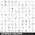 100 medical care icons set, outline style