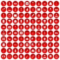 100 medical care icons set red