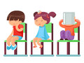 Medical care sick children sitting on chairs cartoon characters isolated vector illustration
