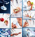 Medical collage collection of ten images Stock Photos