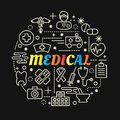 Medical colorful gradient with line icons set