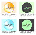 Medical company logos a set of four with a electrocardiogram and placeholder for name and slogan Royalty Free Stock Image