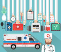 Medical concept design flat with doctor and ambulance