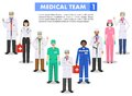 Medical concept. Detailed illustration of doctor and nurses in flat style isolated on white background. Practitioner
