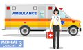 Medical concept. Detailed illustration of emergency doctor woman and ambulance Royalty Free Stock Photo