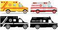 Medical concept. Different kind jewish car ambulances isolated on white background in flat style: colored and black
