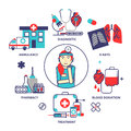 Medical concept in modern flat line style. Vector illustration w Royalty Free Stock Photo