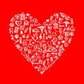 Medical design elements in heart shape