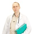 Medical doctor with documents about a patient Royalty Free Stock Photos