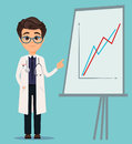 Medical doctor in glasses and white coat pointing on board with graph.