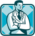 Medical doctor physician stethoscope standing retro illustration of a male with facing side set inside square done in style Stock Images