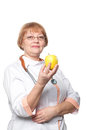 Medical doctor woman smile with stethoscope hold dreen fresh apple in hand isolated over white background Stock Photos