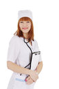 Medical doctor woman with stethoscope and papers isolated over white Stock Images