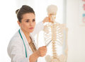 Medical doctor woman teaching anatomy