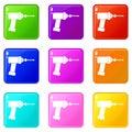 Medical drill icons 9 set