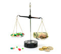 Medical drugs and money on scales on white background Royalty Free Stock Photo