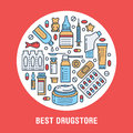 Medical, drugstore poster template. Vector medicament line icons, illustration of dosage forms - tablet, capsules, pills