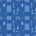 Medical, drugstore seamless pattern, medicament vector blue background. Dosage forms thin line icons - tablet, capsules