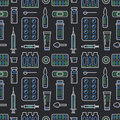 Medical, drugstore seamless pattern, medicament vector dark background. Dosage forms thin line icons - tablet, capsules