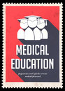 Medical Education on Red in Flat Design. Stock Images