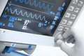 Medical electronics monitor with ecg curves Stock Photography