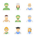 Medical employee icon set vector icons of employees characters in modern flat design style isolated on white background Stock Photo
