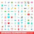 100 medical equipment icons set, cartoon style
