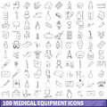 100 medical equipment icons set, outline style