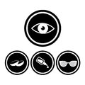 Medical eye icons eyes in black circles Stock Images