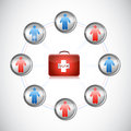 Medical first kit people network illustration design over white Royalty Free Stock Image