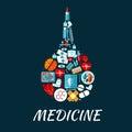 Medical flat icons shaped as enema symbol icon made up of hearts eyes and brain pills syringe and medicine bottles laboratory test Royalty Free Stock Photography