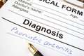 Medical form with diagnosis psoriatic arthritis. Royalty Free Stock Photo