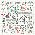 Medical hand draw integrated color icons set. Royalty Free Stock Photo