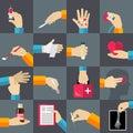 Medical hands flat icons set
