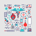 Medical, health care concept in modern flat line design. Vector