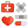 Medical & health-care tag recycled paper craft. Stock Image