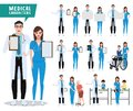 Medical and health care vector character set. Doctor, nurse and pediatrician characters holding empty white board