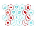 Medical and health icons vector background - Red and blue colors Royalty Free Stock Photo