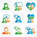Medical healthcare doctor and nurse icons with people figures stethoscopes s hats scrubs Stock Images
