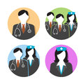 Medical healthcare doctor and nurse icons with people stethoscopes s hats scrubs Stock Image
